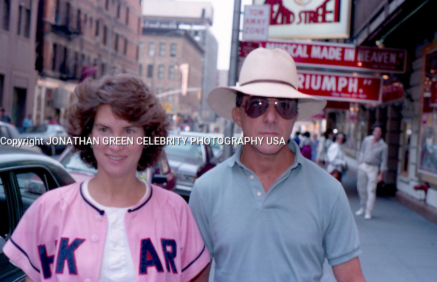 Dustin Hoffman & Wife by Jonathan Green<br /> on the way into his Broadway Play<br /> Death Of A Salesman NYC.