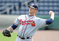 Pitcher Tyler Stovall (14) of the Rome Braves, Class A affiliate of the Atlanta Braves, prior to the first game of a doubleheader against the Greenville Drive on August 15, 2011, at Fluor Field at the West End in Greenville, South Carolina. Rome defeated Greenville, 6-3. (Tom Priddy/Four Seam Images)