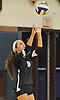 Plainview JFK No. 8 Jillian Lambert serves a ball into play during a Nassau County varsity girls' volleyball match against host Massapequa High School on Wednesday, September 9, 2015. Massapequa won 25-21, 25-14, 25-16.<br /> <br /> James Escher