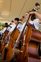 Photography of a Charlotte youth orchestra performing during the Charlotte Symphony Summer Pops Series 2008, at SouthPark Mall.