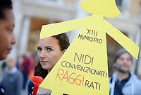 Roma,8 Aprile 2017<br /> Piazza del Campidoglio.<br /> Protesta delle educatrici degli asili nido convenzionati insieme a genitori e bambini contro la delibera   della Gi&ugrave;nta Raggi che pone per le famiglie la priorit&agrave; di scelta sui nidi comunali.