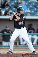 AJ Ellis #44 of the Albuquerque Isotopes plays in a Pacific Coast League game against the Omaha Storm Chasers at Isotopes Park on May 3, 2011  in Albuquerque, New Mexico. .Photo by:  Bill Mitchell/Four Seam Images.