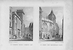 St Clement's church, Clement's Lanes, St Bennet Fisk church, Threadneedle Street, engraving 'Metropolitan Improvements, or London in the Nineteenth Century' London, England, UK 1828