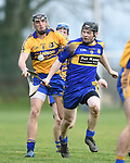 Shane Golden of  Sixmilebridge  in action against Sean O Connor of Newmarket during their Clare Champion Cup final at Clonlara. Photograph by John Kelly.