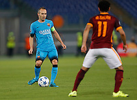 Barcellona's Andreas Iniesta during the Champions League Group E soccer match  against AS Roma at the Olympic Stadium in Rome September 16, 2015