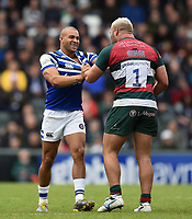 Jonathan Joseph of Bath Rugby gets to know Ellis Genge of Leicester Tigers. Gallagher Premiership match, between Leicester Tigers and Bath Rugby on May 18, 2019 at Welford Road in Leicester, England. Photo by: Patrick Khachfe / Onside Images