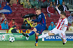 Gerard Deulofeu Lazaro (l) of FC Barcelona fights for the ball with Leonardo Koutris of Olympiacos FC during the UEFA Champions League 2017-18 match between FC Barcelona and Olympiacos FC at Camp Nou on 18 October 2017 in Barcelona, Spain. Photo by Vicens Gimenez / Power Sport Images