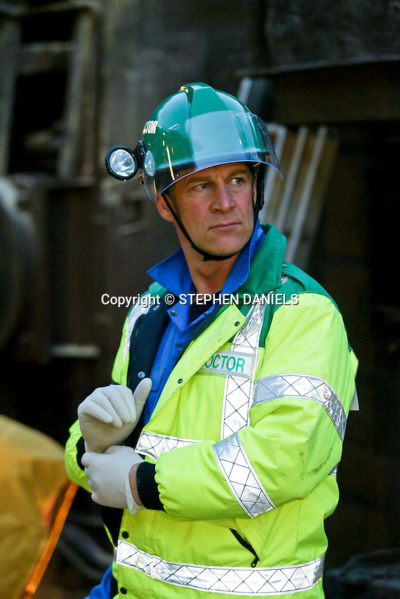 """PHOTO BY © STEPHEN DANIELS<br /> FILMING BBC TV PROGRAMME """"CASUALTY"""" AT NENE VALLEY RAILWAY,  PETERBOROUGH, Cambs<br /> ACTOR SIMON MacCORKINDALE"""