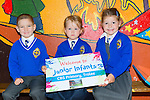 Xavier Kurowski, Ola Golen, and Amelia Kubik are enjoying their first day in Junior Infants at CBS primary  on Tuesday