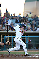 Bobby Boyd (3) of the Lancaster JetHawks bats against the High Desert Mavericks at The Hanger on April 16, 2016 in Lancaster, California. Lancaster defeated High Desert, 3-2. (Larry Goren/Four Seam Images)