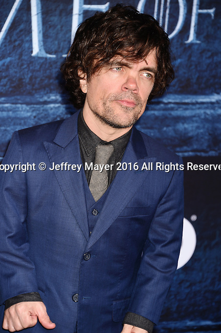 HOLLYWOOD, CA - APRIL 10: Actor Peter Dinklage  arrives at the premiere of HBO's 'Game of Thrones' Season 6 at the TCL Chinese Theatre on April 10, 2016 in Hollywood, California.