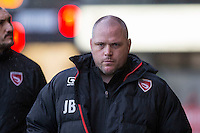 Morecambe manager Jim Bentley ahead of the Sky Bet League 2 match between Newport County and Morecambe at Rodney Parade, Newport, Wales on 10 December 2016. Photo by Mark  Hawkins.