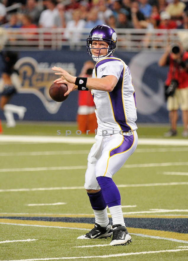 SAGE ROSENFELS, of the Minnesota Vikings ,in action during the Vikings  game against the  St. Louis Rams at Edward Jones Dome in St. Louis Missouri on August14, 2010.  The Vikings won the game 28-17..