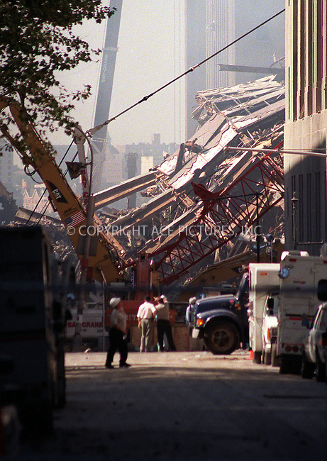 Ground Zero in New York. September 12, 2001. Please byline: Alecsey Boldeskul/NY Photo Press.   ..*PAY-PER-USE*      ....NY Photo Press:  ..phone (646) 267-6913;   ..e-mail: info@nyphotopress.com