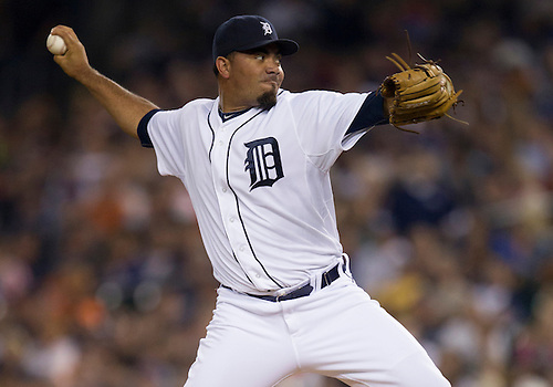 August 21, 2012:  Detroit Tigers pitcher Joaquin Benoit (53) delivers pitch during MLB game action between the Toronto Blue Jays and the Detroit Tigers at Comerica Park in Detroit, Michigan.  The Tigers defeated the Blue Jays 5-3.