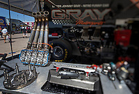 Apr. 5, 2013; Las Vegas, NV, USA: (Editors note: Special effects lens used in creation of this image) Table with engine parts of NHRA funny car driver Johnny Gray in the pits during qualifying for the Summitracing.com Nationals at the Strip at Las Vegas Motor Speedway. Mandatory Credit: Mark J. Rebilas-