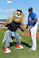 Round Rock second baseman Thomas Field (2) and mascot Spike before a baseball game, Saturday May 02, 2015 in Round Rock, Tex. Express defeated Sounds 5-4. (Mo Khursheed/TFV Media via AP images)