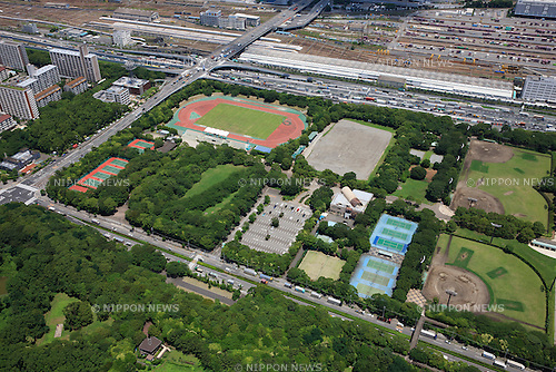 Seaside Park Hockey Stadium: Tokyo, Japan: Aerial view of proposed venue for the 2020 Summer Olympic Games. (Photo by AFLO)