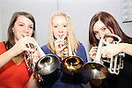 Aoife Crowley, Grace English and Jenny Cassidy as Drogheda Brass Band in their new practice rooms...(Photo credit should read Jenny Matthews www.newsfile.ie)....This Picture has been sent you under the condtions enclosed by:.Newsfile Ltd..The Studio,.Millmount Abbey,.Drogheda,.Co Meath..Ireland..Tel: +353(0)41-9871240.Fax: +353(0)41-9871260.GSM: +353(0)86-2500958.email: pictures@newsfile.ie.www.newsfile.ie.