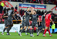 Lincoln City's Jason Shackell celebrates scoring the opening goal<br /> <br /> Photographer Andrew Vaughan/CameraSport<br /> <br /> The EFL Sky Bet League Two - Swindon Town v Lincoln City - Saturday 12th January 2019 - County Ground - Swindon<br /> <br /> World Copyright &copy; 2019 CameraSport. All rights reserved. 43 Linden Ave. Countesthorpe. Leicester. England. LE8 5PG - Tel: +44 (0) 116 277 4147 - admin@camerasport.com - www.camerasport.com
