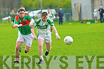 John O'Mahony (Ballydonoghue) in action with Damien O'Carroll (Beale) in the Novice Championship on Saturday in Denis Dowling Park, Ballydonoghue.