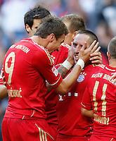 ATENCAO EDITOR IMAGEM EMBARGADA PARA VEICULO INTERNACIONAL - MUNIQUE, ALEMANHA, 06 OUTUBRO DE 2012 - CAMP. ALEMAO - BAYERN DE MUNIQUE X HOFFENHEIM - Frank Ribery (D) jogador do Bayern de Munique comera gol durante partida contra o Hoffenheim pela setima rodada do Campeonato Alemao em Munique na Alemanha, neste sabado ,06. (FOTO: PIXATHLON / BRAZIL PHOTO PRESS)