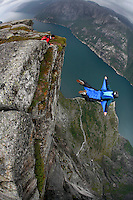 BASE jumping in Kjerag. The annual Heliboogie were participants have the option of being flown to the top of the Kjerag mountain with a helicopter, and jump off with parachute.
