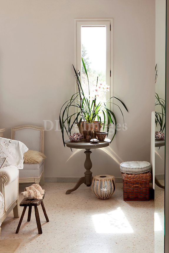 wooden round side table with flowerpot