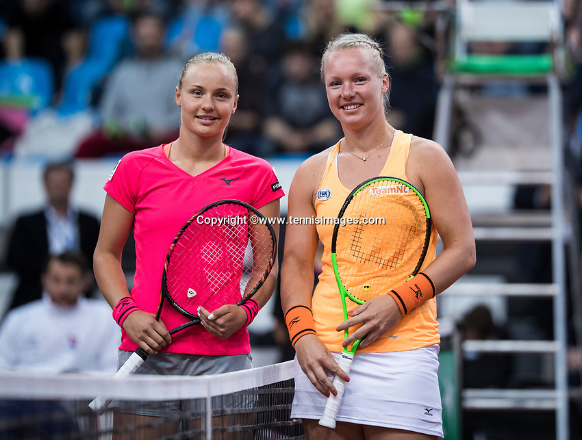 Bratislava, Slovenia, April 22, 2017,  FedCup: Slovakia-Netherlands, seccond rubber : at the start: Rebecca Sramkova (SVK) vs Kiki Bertens (NED (R)<br /> Photo: Tennisimages/Henk Koster