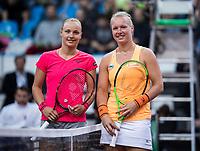 Bratislava, Slovenia, April 22, 2017,  FedCup: Slovakia-Netherlands, seccond rubber : at the start: Rebecca Sramkova (SVK) vs Kiki Bertens (NED (R)<br /> Photo: Tennisimages/Henk Koster