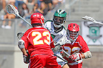 San Diego, CA 05/21/11 - Kyle Runyon (Coronado #7), Riley Sanchez (Cathedral Catholic #32) and Dominic Thomas (Cathedral Catholic #23) in action during the 2011 CIF San Diego Section Division 2 Varsity Lacrosse Championship between Cathedral Catholic and Coronado.