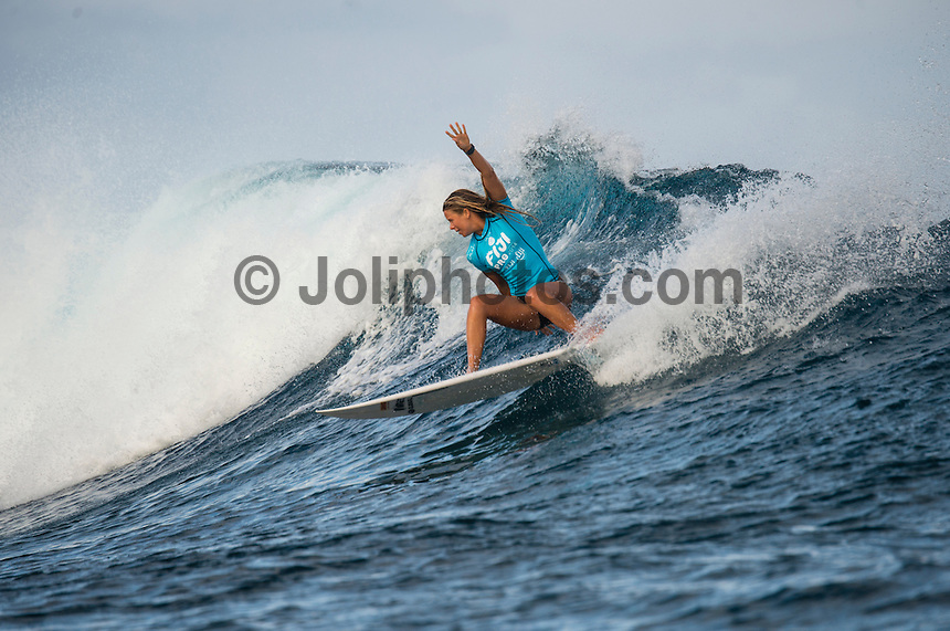 Namotu Island Resort, Namotu, Fiji. (Tuesday May 27, 2014) Page Harib (NZL). –  The Fiji Women's Pro, Stop No. 5 of 10 on the 2014  Women's World Championship Tour (WCT) was called on today  at Cloudbreak in a ring 4'-6' south swell.  The South East Trades, which are side offshore at Cloudbreak increased with the growing swell and made conditions difficult by mid afternoon. All of Rounds 1 & 2 were completed with Malia Manual (HAW) registering the day's highest score with powerful forehand surfing. The event has attracted the world's best female surfers to the world-class waves of Cloudbreak and Restaurants for the recommencement of this season's battle for the world surfing crown. Photo: joliphotos.com