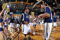 25 February 2012:  FIU senior guard Jeremy Allen (32) is introduced prior to the game.  The FIU Golden Panthers defeated the University of South Alabama Jaguars, 81-74, at the U.S. Century Bank Arena in Miami, Florida.