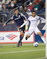 Kansas City Wizards defender Roger Espinoza (17) attempts to control pass near net as New England Revolution defender Chris Tierney (8) defends. The New England Revolution defeated Kansas City Wizards, 1-0, at Gillette Stadium on October 16, 2010.
