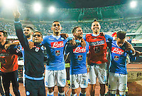 Napoli's Players celebrate at the end  the  italian serie a soccer match against juventus,    at  the San  Paolo   stadium in Naples  Italy , September 26 , 2015
