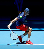 3rd January 2020; RAC Arena, Perth, Western Australia; ATP Cup Australia, Perth, Day 1,; USA v Norway Casper Ruud of Norway plays a backhand shot from the baseline against John Isner of the USA - Editorial Use
