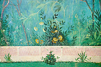 Painted Roma fresco of a garden from Villa Livia (Early first century AD), Rome, Livia was the wife of Roman emperor Augustus.  Museo Nazionale Romano ( National Roman Museum), Rome, Italy.<br /> Trees and shrubs had symbolic importance to the Romans as can be see by the plants used in the trompe-l'œil frescoes from the Villa Livia, Rome, which contains plants linked to the deities particularily venerated by Augustus and Livia.