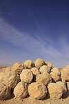 Israel, Judean desert, Ballista balls at Masada
