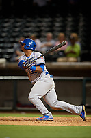 Tennessee Smokies left fielder Jeffrey Baez (33) flies out during a game against the Birmingham Barons on August 16, 2018 at Regions FIeld in Birmingham, Alabama.  Tennessee defeated Birmingham 11-1.  (Mike Janes/Four Seam Images)