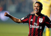Carlos Bacca celebrates after scoring  during   Italian Serie A soccer match between Frosinone and AC Milan  at Matusa  Stadium in Frosinone ,December 20  , 2015