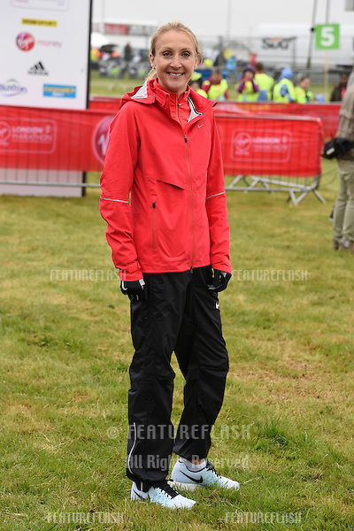 Paula Radcliffe at the start of the 2015 London Marathon, Blackheath Common, Greenwich, London. 26/04/2015 Picture by: Steve Vas / Featureflash