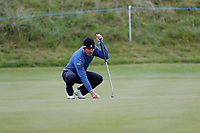 Edoardo Molinari lines up his putt on the 17th during the first day at the Betfred British Masters, Hillside Golf Club, Lancashire, England. 09/05/2019.<br /> Picture David Kissman / Golffile.ie<br /> <br /> All photo usage must carry mandatory copyright credit (© Golffile | David Kissman)