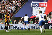 Connor Jennings celebrates scoring Tranmere's opening goal during Newport County vs Tranmere Rovers, Sky Bet EFL League 2 Play-Off Final Football at Wembley Stadium on 25th May 2019
