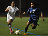 Elvira Puluc #11 of Mattituck, left, gets pressured by Ariel Nakanant #12 of Jericho during Game 1 of two Long Island varsity girls soccer senior all-star games at Farmingdale State College on Friday, Nov. 24, 2017.