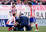 Atletico Madrid's Uruguayan defender Diego Godin during the Spanish league football match Club Atletico de Madrid vs Real Madrid CF at the Vicente Calderon stadium in Madrid on February 7, 2015.        PHOTOCALL3000/ DP