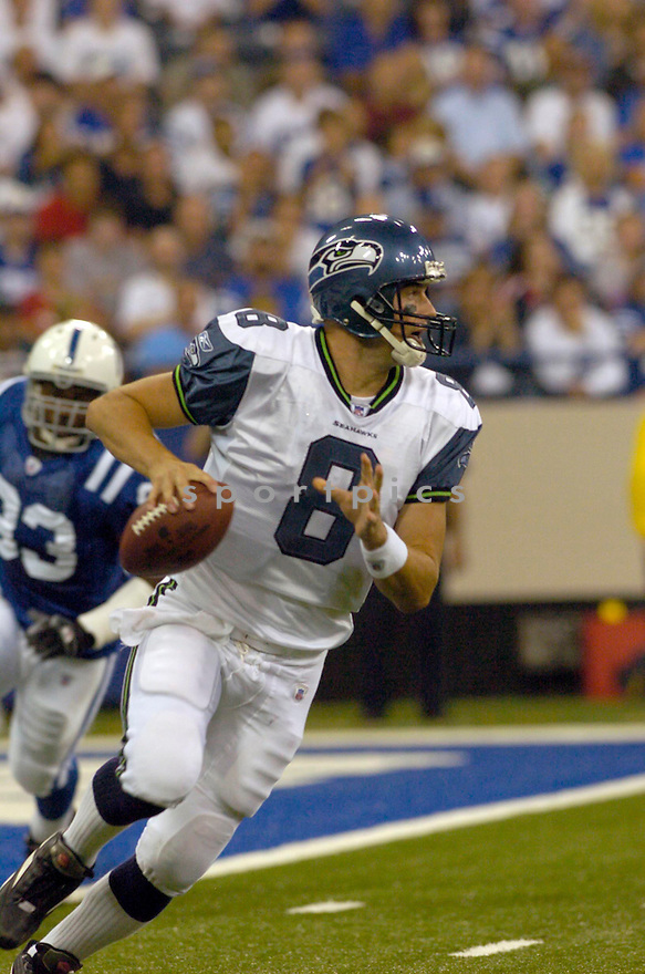 Matt Hasselbeck, of the Seattle Seahawks , in aciton against the Indianapolis Colts on August 20, 2006 in Indianapolis...Seattle wins 30-17..David Durochik / SportPics