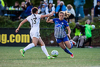 Allston, MA - Sunday, May 22, 2016: FC Kansas City defender Brittany Taylor (13)  and Boston Breakers midfielder Kristie Mewis (19) during a regular season National Women's Soccer League (NWSL) match at Jordan Field.