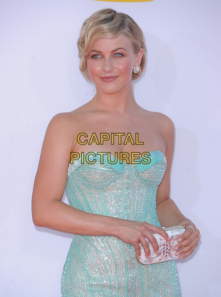 Julianne Hough.The 64th Anual Primetime Emmy Awards held at Nokia Theatre L.A. Live in Los Angeles, California, USA..September 23rd, 2012.emmys half length sparkly white blue pale turquoise strapless dress clutch bag.CAP/DVS.©DVS/Capital Pictures.