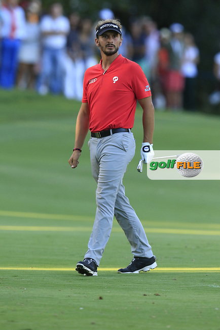 Joost Luiten (NED) plays his 2nd shot on the 18th hole during Saturday's Round 3 of the 2017 Valderrama Masters hosted be Fundacion Sergio Garcia, held at Real Club Valderrama, Sotogrande, Andalucia, Spain. 21st October 2017.<br /> Picture: Eoin Clarke | Golffile<br /> <br /> <br /> All photos usage must carry mandatory copyright credit (&copy; Golffile | Eoin Clarke)