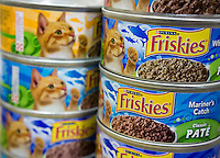 Cans of Friskies cat food  in an assortment of yummy flavors on a supermarket shelf in New York on Thursday, July 31, 2014. The brand is owned by the Nestlé Purina PetCare Company. (© Richard B. Levine)